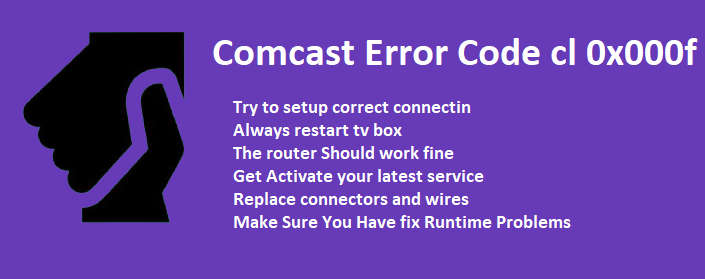 comcast error code cl 0x000f
